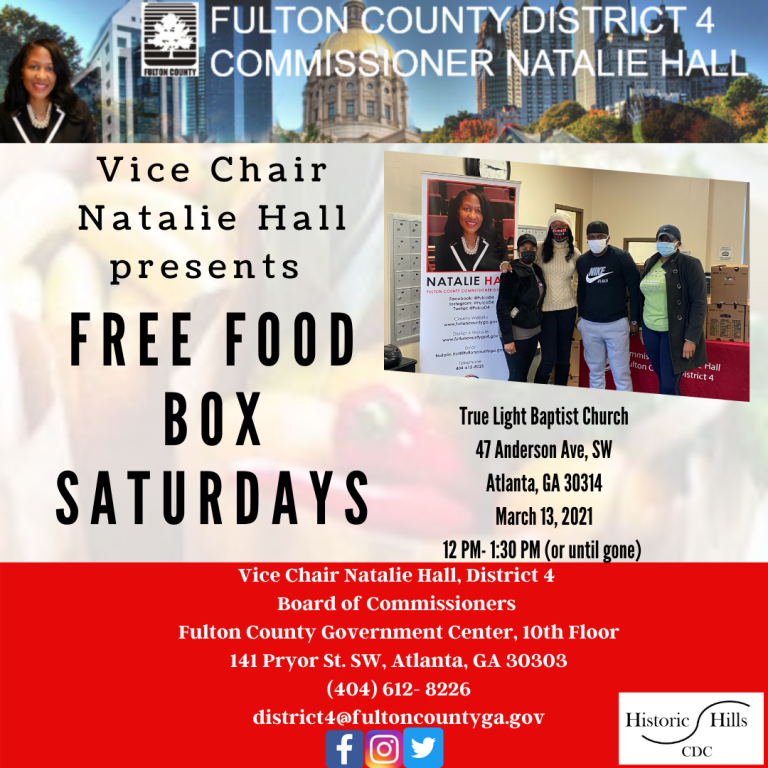 Vice Chair Natalie Hall, District 4 Board of Commissioners Fulton Ciounty Government Center, 10th Floor 141 Pryor St. SW, Atlanta, GA 30303 (404(2)
